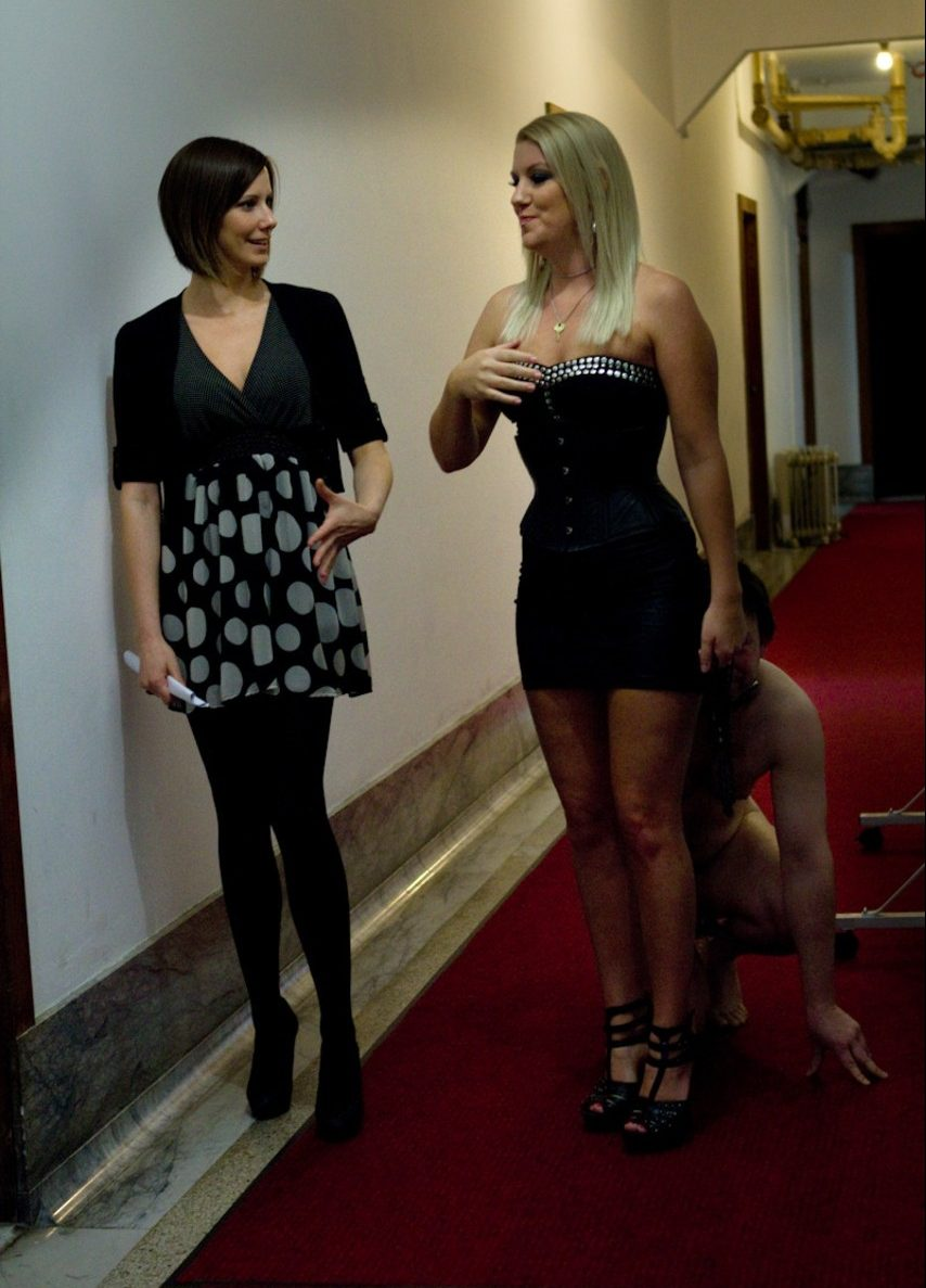 Wife with her girlfriend and her slave