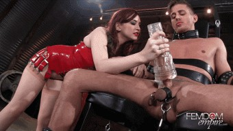 Amber Ivy – Slave Alexander – Bondage Chair Milking