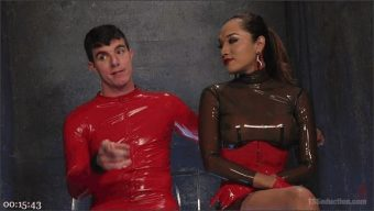 Artemis Faux – Jessica Fox – Latex Clad Domme Torments Hard Cocked Slaveboy