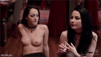 Karlo Karrera – Veruca James – Sabrina Banks – Twin Set of Raven Haired Slaves Service Brunch Guests