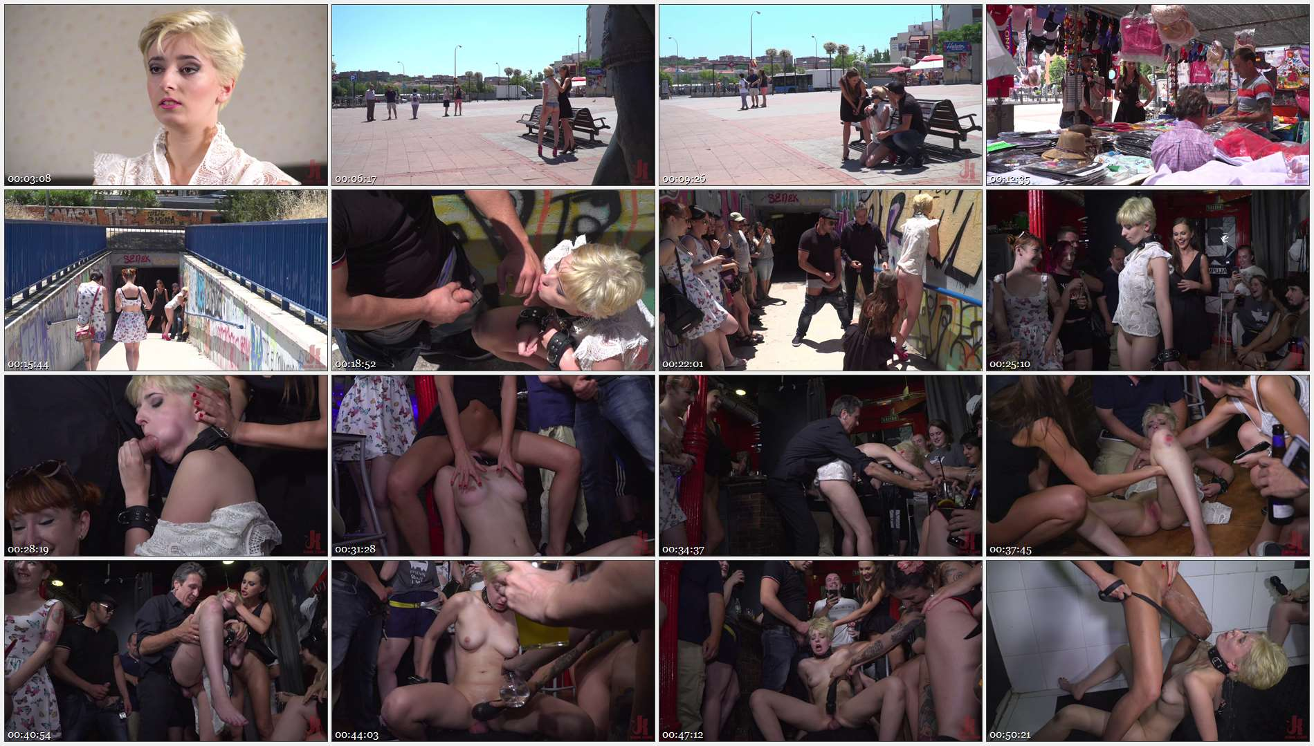 Steve Holmes – Antonio Ross – Tina Kay – Molly Saint Rose – Petite Whore Molly Saint Rose Fucked and Humiliated in Public Plaza!!