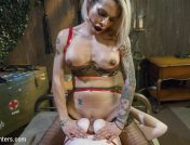 TS Foxxy – Ts Foxxy Turns Busty Foot Soldier Into Boot Worshipping Slut