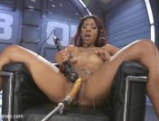 Lotus Lain – Ebony Squirt Slut Soaks Fucking Machines with Her Cum Love