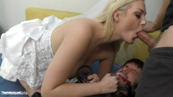 Jenna Ivory – Wifey is Cucking Hubby & Rubbing her Boytoy's Cum into his Eyes!